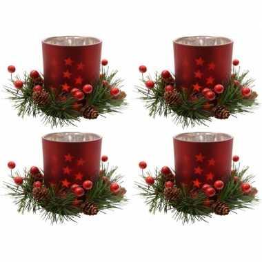 4x kerstdecoratie theelichthouders rood 8 cm prijs
