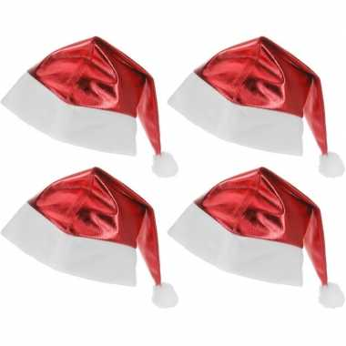 4x kerstmutsen rood glimmend voor volwassenen prijs