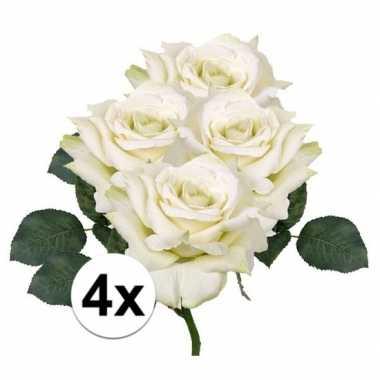4x kunstbloemen witte roos 31 cm prijs