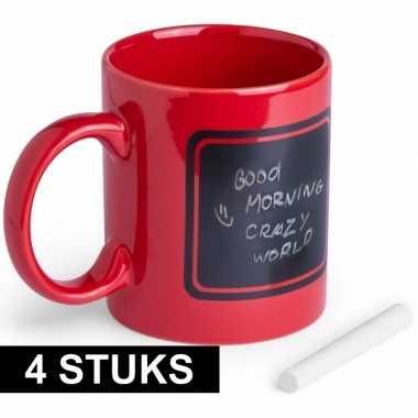 4x luxe krijt koffie mokken rood prijs