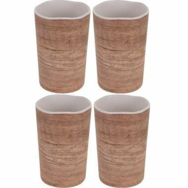 4x onbreekbare drinkbekers/mokken houtprint 11 cm prijs
