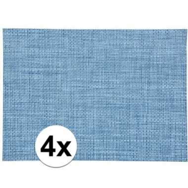 4x onderlegger blauw gevlochten 45 x 30 cm prijs