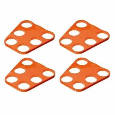 4x oranje plastic bier tray voor 6 glazen prijs