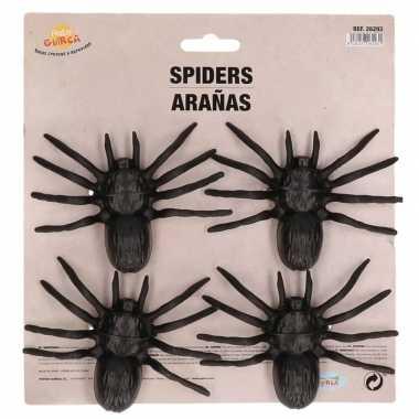 4x plastic horror spinnen 10 cm halloween decoratie prijs