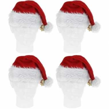 4x pluche kerstmutsen met bel deluxe prijs