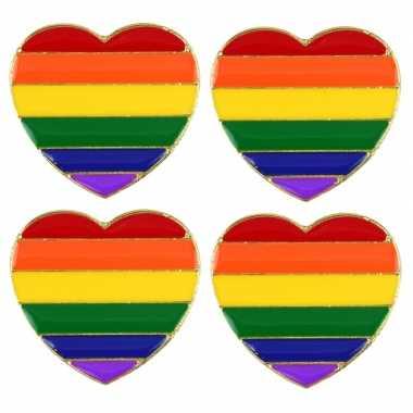 4x regenboogvlag kleuren metalen hartje broche 3 cm prijs