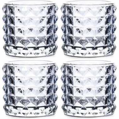 4x waxinelichthouders lichtblauw glas lyon 10 cm prijs