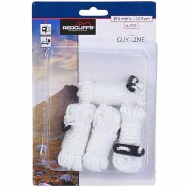 4x witte scheerlijnen / touwen met gatspanners 4 mm x 4 meter prijs