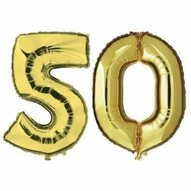 50 jaar leeftijd helium/folie ballonnen goud feestversiering prijs