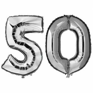 50 jaar leeftijd helium/folie ballonnen zilver feestversiering prijs
