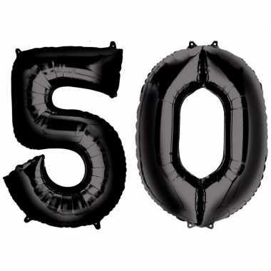 50 jaar leeftijd helium/folie ballonnen zwart feestversiering prijs
