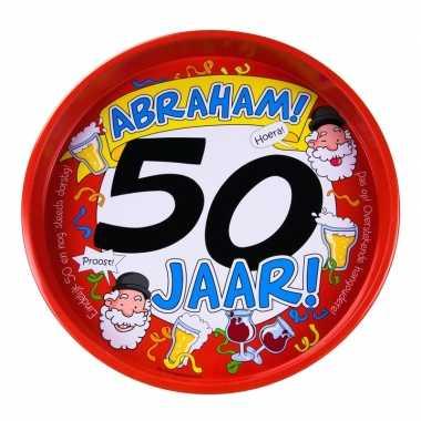 50ste verjaardag abraham metalen dienblad 30 cm prijs
