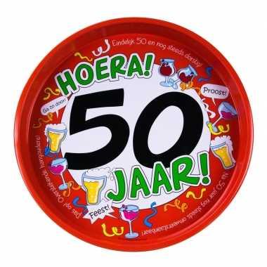 50ste verjaardag metalen dienblad 30 cm prijs