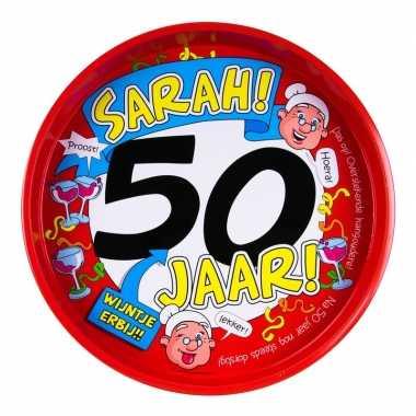 50ste verjaardag sarah metalen dienblad 30 cm prijs