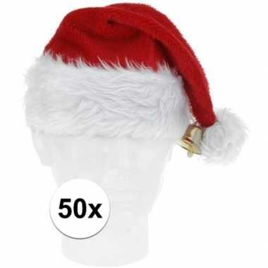 50x pluche kerstmutsen met bel deluxe prijs