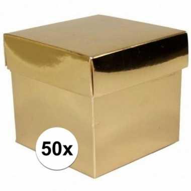 50x stuks gouden cadeaudoosjes/kadodoosjes 10 cm vierkant prijs