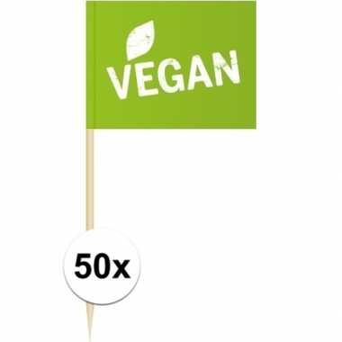 50x vlaggetjes prikkers vegan 8 cm hout/papier prijs