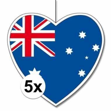 5x australie hangdecoratie harten 28 cm prijs