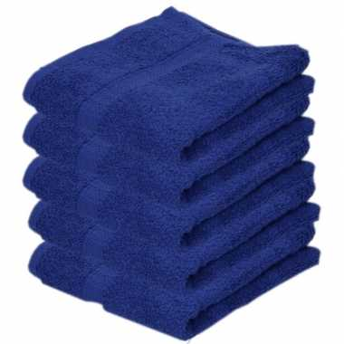 5x badkamer/douche handdoeken blauw 50 x 90 cm prijs