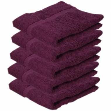 5x badkamer/douche handdoeken bordeaux 50 x 90 cm prijs