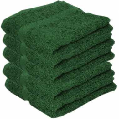5x badkamer/douche handdoeken donkergroen 50 x 90 cm prijs