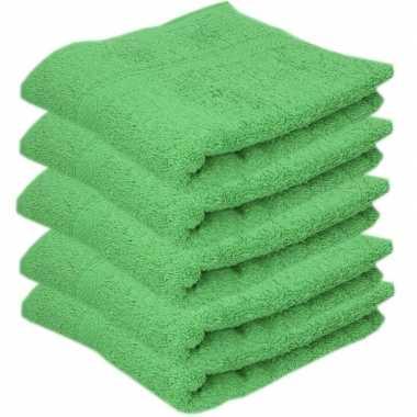 5x badkamer/douche handdoeken groen 50 x 90 cm prijs