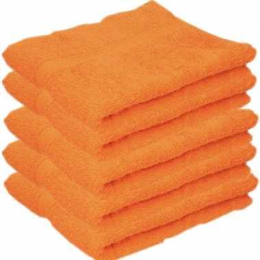 5x badkamer/douche handdoeken oranje 50 x 90 cm prijs