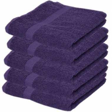 5x badkamer/douche handdoeken paars 50 x 90 cm prijs