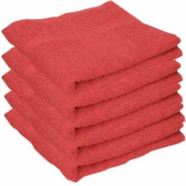 5x badkamer/douche handdoeken rood 50 x 90 cm prijs