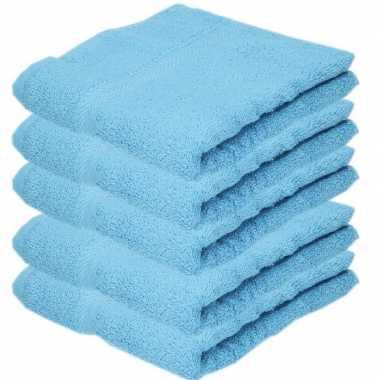 5x badkamer/douche handdoeken turquoise 50 x 90 cm prijs