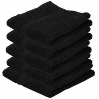 5x badkamer/douche handdoeken zwart 50 x 100 cm prijs