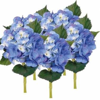 5x blauwe hortensia kunstbloemen met steel 48 cm prijs