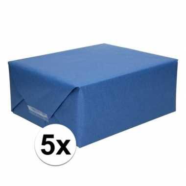 5x cadeaupapier donkerblauw 70 x 200 cm kraftpapier prijs