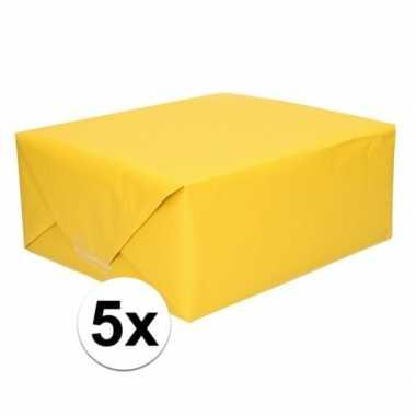 5x cadeaupapier geel 70 x 200 cm kraftpapier prijs