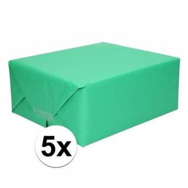 5x cadeaupapier groen 200 x 70 cm kraftpapier prijs