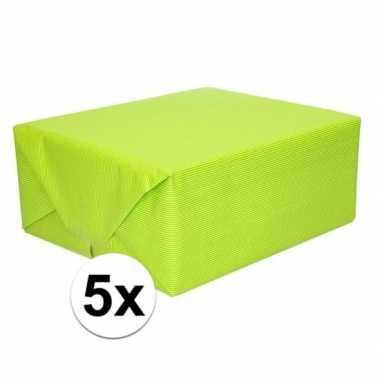 5x cadeaupapier lime groen 70 x 200 cm kraftpapier prijs