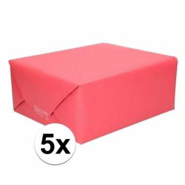 5x cadeaupapier rood 70 x 200 cm kraftpapier prijs