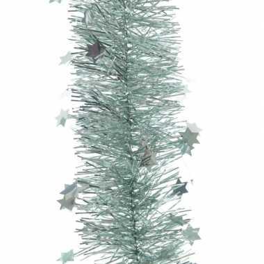 5x kerst lametta guirlandes mintgroen sterren/glinsterend 10 x 270 cm