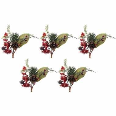 5x kerststukje instekertjes met bessen groen/rood 20 cm prijs