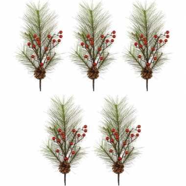 5x kersttakken met rode besjes 60 cm prijs