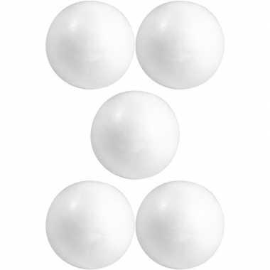 5x knutselmateriaal bal/bol 5 cm styrofoam/polystyreen/piepschuim pri