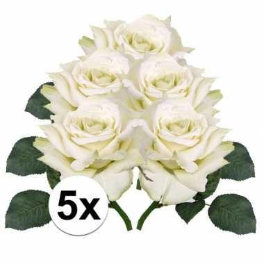 5x kunstbloemen witte roos 31 cm prijs