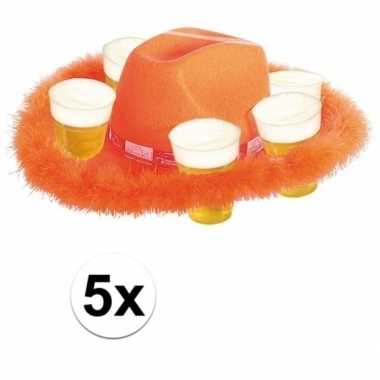 5x oranje bier hoed met bont prijs