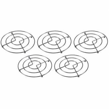 5x pannenonderzetters chroom 17 cm prijs