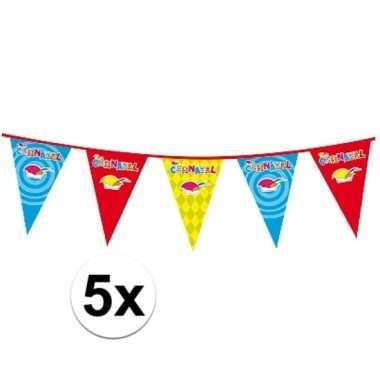 5x plastic carnaval vlaggenlijnen prijs