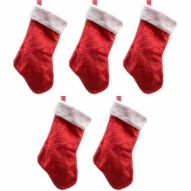 5x pluche kerstsokken 40 cm rood/wit prijs