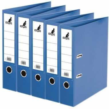 5x ringmappen/ordners blauw a4 75 mm prijs