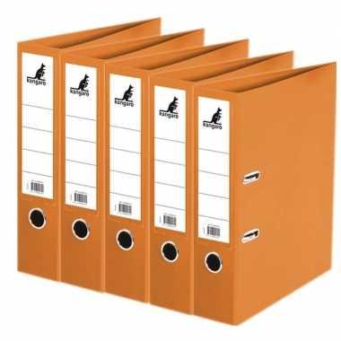 5x ringmappen/ordners oranje a4 75 mm prijs