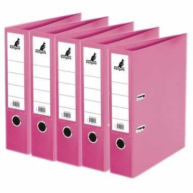 5x ringmappen/ordners roze a4 75 mm prijs