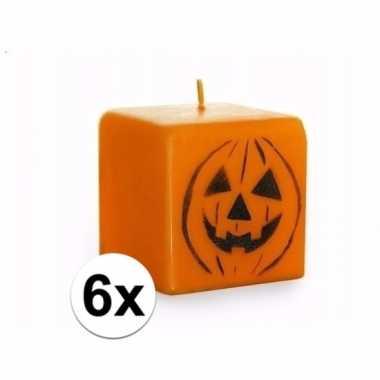 6 vierkante pompoen kaarsen oranje prijs